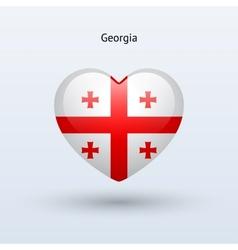 Love Georgia symbol Heart flag icon vector