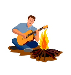 Man Camping Playing Guitar vector