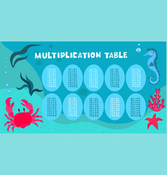 marine style multiplication table with seahorse vector image