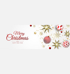 Merry christmas and happy new year holiday white vector