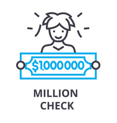 Million check thin line icon sign symbol vector