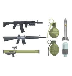 Modern weapons set gun rifle submachine vector