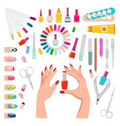 Nail art samples and tools vector