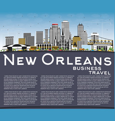 New orleans louisiana city skyline with gray vector