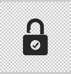 open padlock and check mark icon vector image