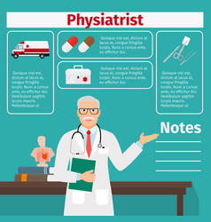 physiatrist and medical equipment icons vector image vector image