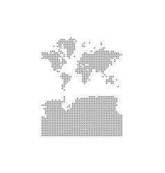 Pixel map of world with antarctica dotted map of vector