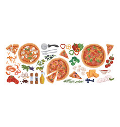 pizza ingredients flat set vector image