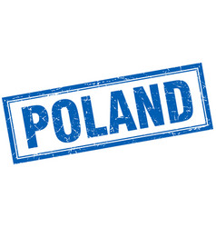 Poland blue square grunge stamp on white vector