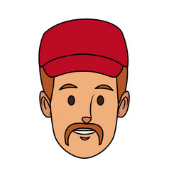 portrait man delivery face character person vector image