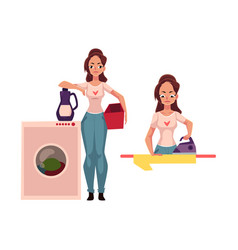 pretty young woman housewife doing housework - vector image