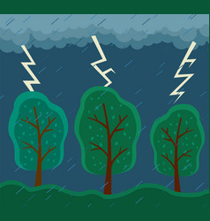 rainy weather lightning thunderclouds gray vector image