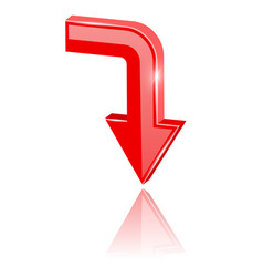 red 3d arrow moving down vector image
