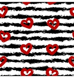 Red hearts black stripes Smear brush white vector
