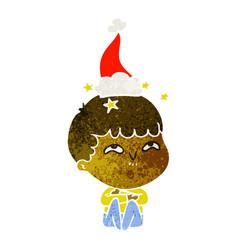 Retro cartoon of a amazed boy wearing santa hat vector