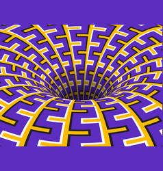 Rotating hole moving purple yellow ornament vector