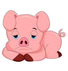 sad pig cartoon vector image