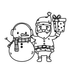 santa and snowman with gift celebration merry vector image
