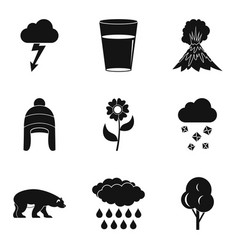 Season clouds icon set simple style vector