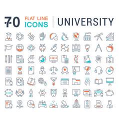 set flat line icons university vector image