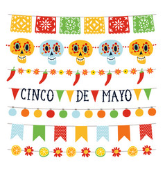 set of cinco de mayo holiday garlands with lights vector image