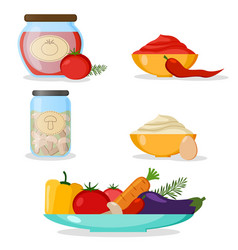 set of vegetables mayonnaise chili sauce vector image