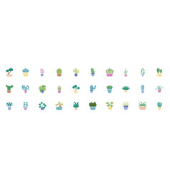 set plants flat icons vector image