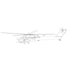 Silhouette of military helicopter created vector