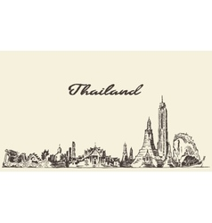 Skyline of Thailand hand drawn sketch vector