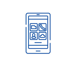 smartphone apps line icon concept smartphone apps vector image