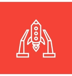 Space shuttle on take-off area line icon vector image