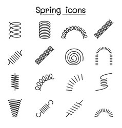 Spring coil and absorber icon set in thin line vector