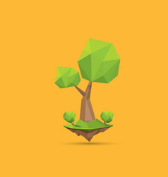 summer green low poly style tree isolated on vector image