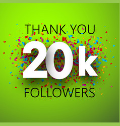 Thank you 20k followers card with colorful vector