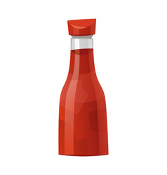 Traditional glass tomato ketchup bottle isolated vector