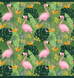 Tropical jungle seamless pattern with flamingo vector