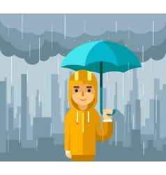 Under rain with umbrella Man vector