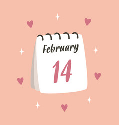 Valentines card with cute calendar isolated vector
