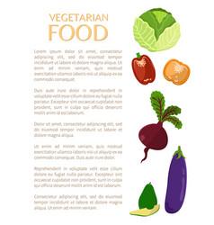 vegetarian food vegetables set color icons vector image