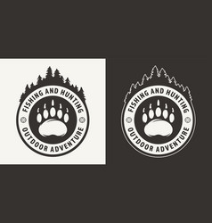vintage monochrome hunting round emblem vector image