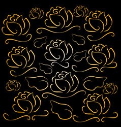 white lines roses on black background vector image