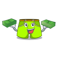 With money cartoon shorts style for the swimming vector