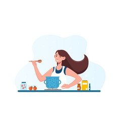 Woman cooking dietary vegetarian soup in kitchen vector