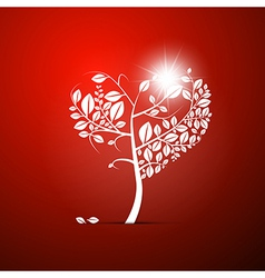 Abstract heart-shaped tree on red background vector