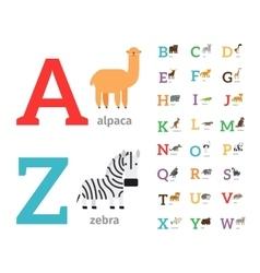 Animals alphabet icons vector image