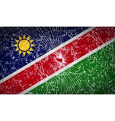 Flags Namibia with broken glass texture vector image
