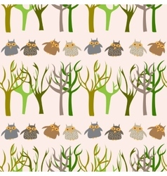 Forest seamless pattern with cute owls vector image