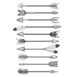 Hand drawing ethnic arrows vector image