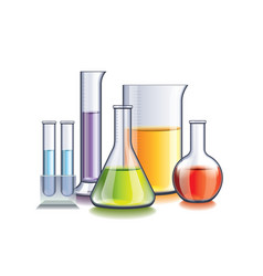 laboratory with flasks isolated vector image