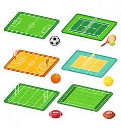 team sports fields and balls vector image